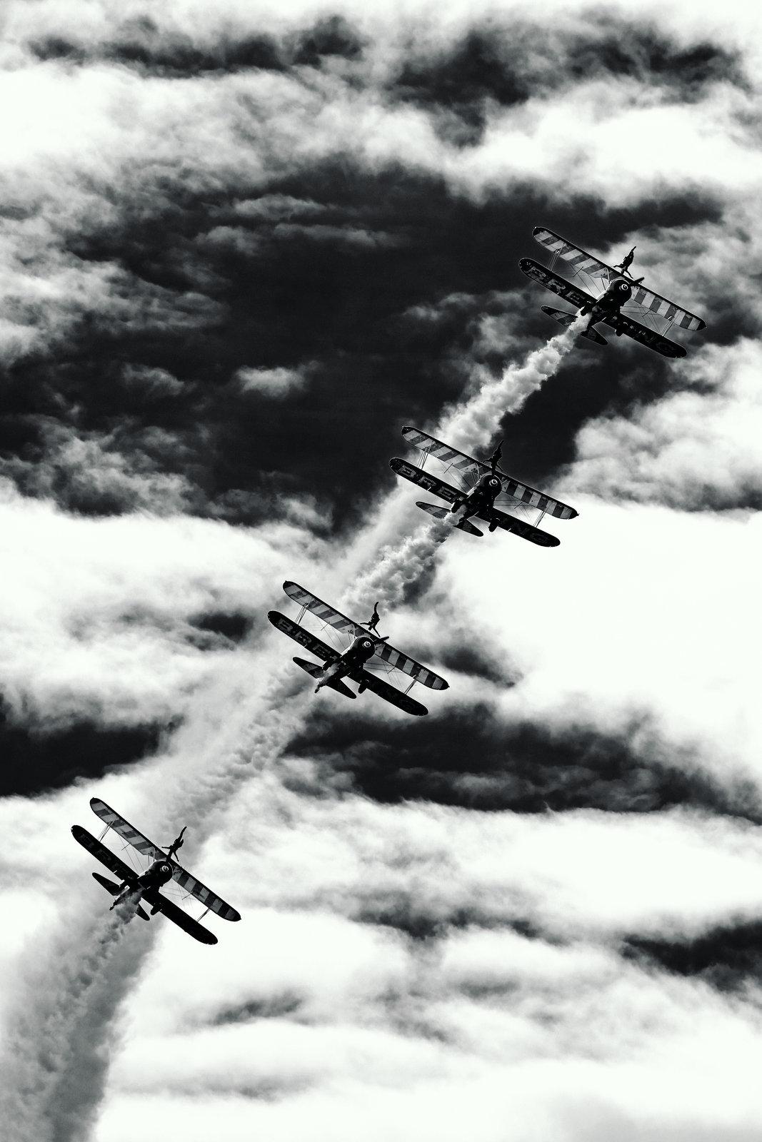 Farnborough Airshow July 2016 XPro2 Wingwalkers 9 mono.jpg