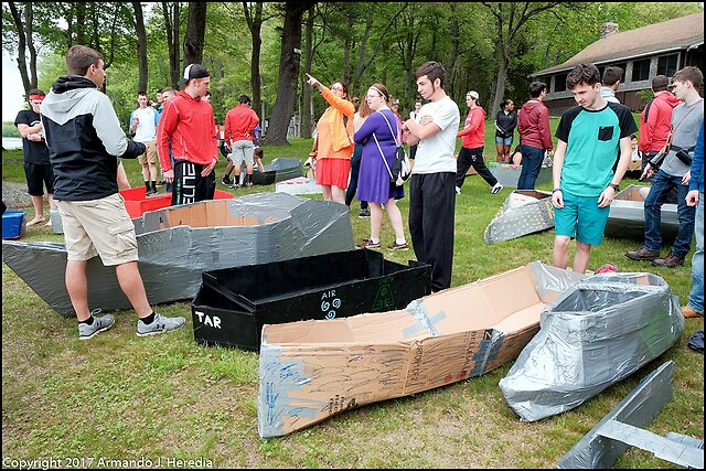 A Ship is Safe in Harbor... - ...but that's not what ships are for.       -William Shedd  My son's School holds their Senior Physics Olympics. This year's challenges: duct tape and cardboard boats, paper chairs that could hold 300lbs, and Trebuchets. Plus the traditional dunking of select faculty.