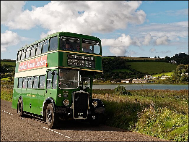 Kingsbridge Bus Rally 2017 - The 10th rally for old buses held in and around Kingsbridge in South Devon.   The 1945 Bristol K6A makes its way towards Slapton village alongside Slapton Ley (freshwater lake)   The K6A returns alongside the sea en route for Kingsbridge   A closer shot of the K6A, formerly a local bus   This...