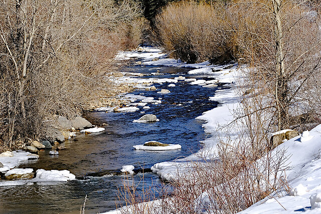 Pecos River in Winter, Part II - We set out mid-morning for our first ever winter visit to the canyon. The narrow, twisting road had a fair number of scary icy and snow-covered patches, but Diana's bad weather Michigan driving skills were up to the challenge.  There were very few places to stop due to the snow banks, but we...