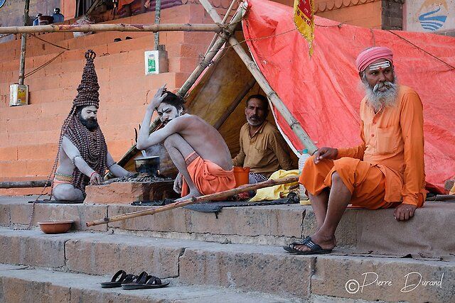 Seen while strolling...walking and wandering outside - Sadhus in Varanasi, Uttar Pradesh, North India