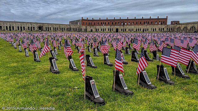 Cell Phone Camera photos - Extremely privileged to have helped set up Operation Stand Down: Boots on the Ground at Fort Adams in Newport. This display moves from town to town and features over 7,000 boots, flags and ID cards remembering US Service Members lost since 9/11.  A sobering reminder of what Memorial Day really...