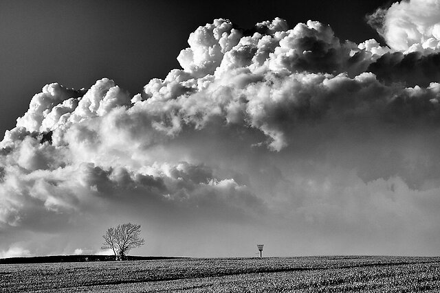 Dramatic B&W images - Clouds over Belvoir