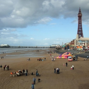 Blackpool beach, England.