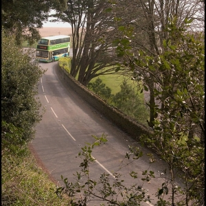 The Kingsbridge to Dartmouth bus rounding Strete Gate