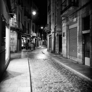 Girona streets at night