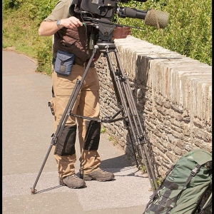 A wildlife cameraman at work