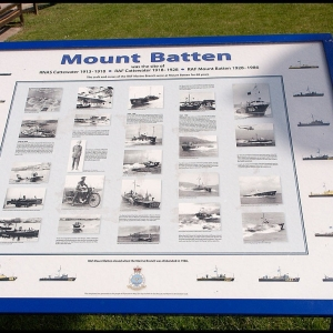 story board showing the history of RAF Mount Batten