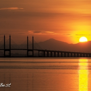 Sunrise over Penang Bridge
