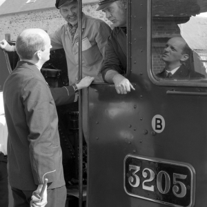 Train crew in conversation