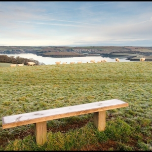 Frosty bench, far reaching outlook