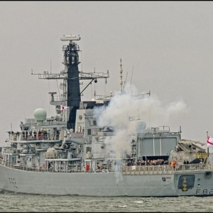 HMS Somerset fires the starting gun