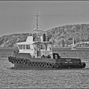 "The harbour tug ""Prince Rock"" heads out"