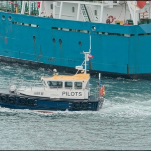 The pilot boat hurries upriver